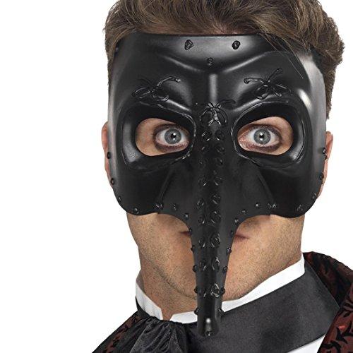 NET TOYS Gothic Pestmaske Phantom Maske schwarz Schnabelmaske Pestdoktor Maske