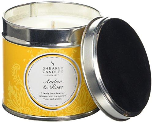 Shearer Candles Bougie parfumée Senteur Ambre et Rose Argent Bougie Boîte métal, Jaune, Grand, Lot de 6