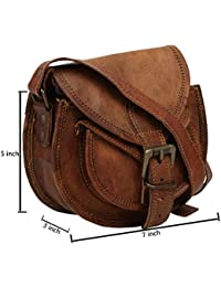 Handcraft Ruby Vintage Style Genuine Leather Brown Cross Body Shoulder Bag Handmade Purse Small Size