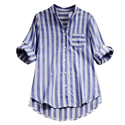 ABsoar Baumwoll-Leinen T-Shirt Damen Gestreiftes Drucken Langarm Blusen Beliebte Tasche Hemd Sommer Herbst Tunika Frauen Plus Größe V-Ausschnitt Tops mit Roll Up Ärmel -