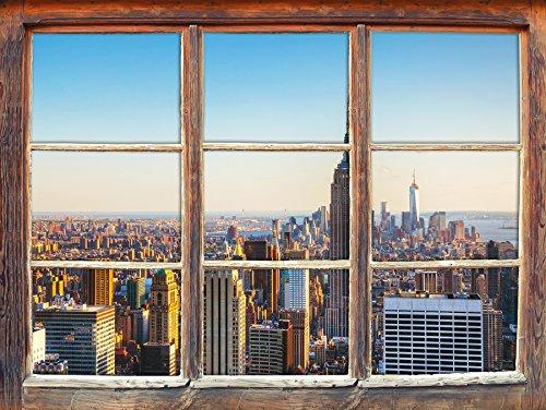 Empire State Building a New York finestra della parete di formato 3D: Decorazione della parete 62x42cm 3D adesivi da parete decalcomanie
