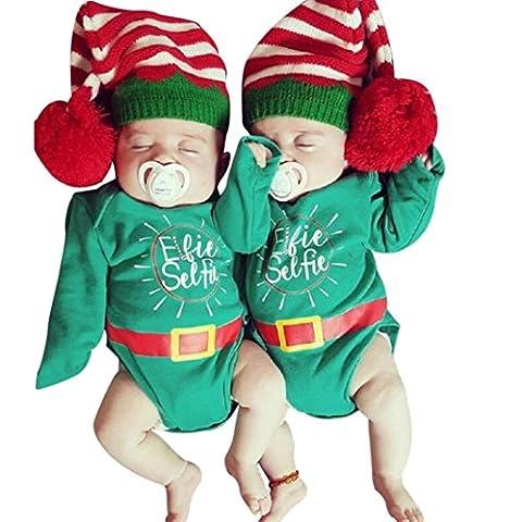 Xshuai Neugeborene Baby Mädchen-Jungen-bequeme Buchstabe-Spielanzug-frohe Weihnacht-stilvolle Kleidung (18 Monate, Grün)