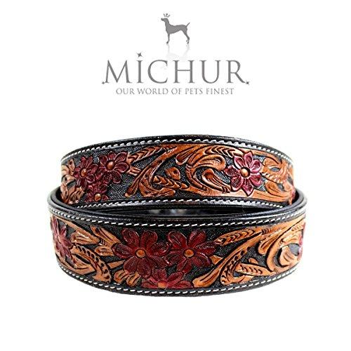 MICHUR Flora Hundehalsband Leder, Lederhalsband Hund, Halsband, SCHWARZ Rot Braun, Leder, mit roten Blumenmuster, in verschiedenen Größen erhältlich