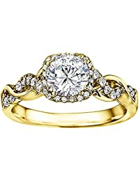 Silvernshine Solitaire With Accent Bridal Halo Engagement Wedding Ring In 14k Yellow Gold Plated Alloy