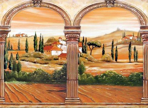 Fotomurale non Tessuto (TNT)- TOSCANA (298V) 350x260 cm-7 Strisce 50x260cm-Carta da Parati Fotomurali XXL Poster- Case Alberi Bosco Paesaggio Italia Camera da letto soggiorno Ufficio Arte Parete