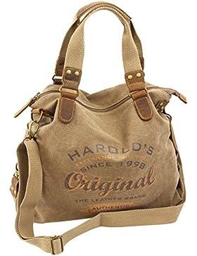 Canvas Damen Handtasche mit Echt