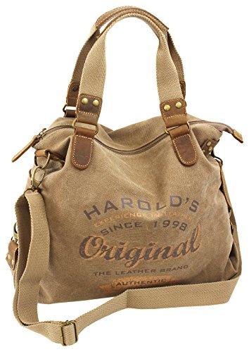 Canvas Damen Handtasche mit Echtlederbesatz Schultertasche Legere Umhängetasche aus Segeltuch Coole Frauen Crossbody Bag Natur (4541)