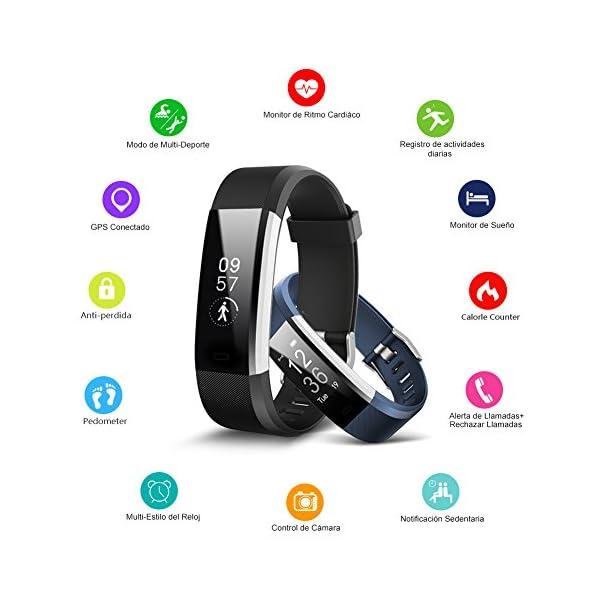 BANLVS Pulsera Actividad, Pulsera Inteligente con 14 Modos de Deporte, GPS Pulsómetro Monitor de Ritmo Cardíaco Sueño… 3