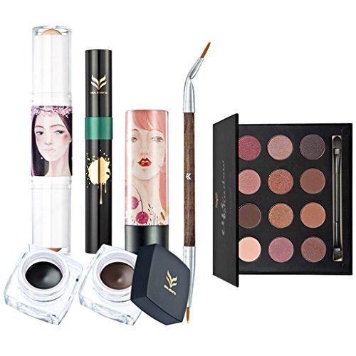 Sharplace 7 en 1 Palette Ombre à Paupières Paillette Mat + Pinceau Eye Liner + Crème Eyeliner Noir Brun + Bâton Highlighter + Mascara à Cils + Rouge à Lèvres/Lipstick - Kit Outil de Maquillage