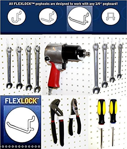 Pack of 50 White WallPeg AM-50 MIX-BK Pegboard Hook Kit