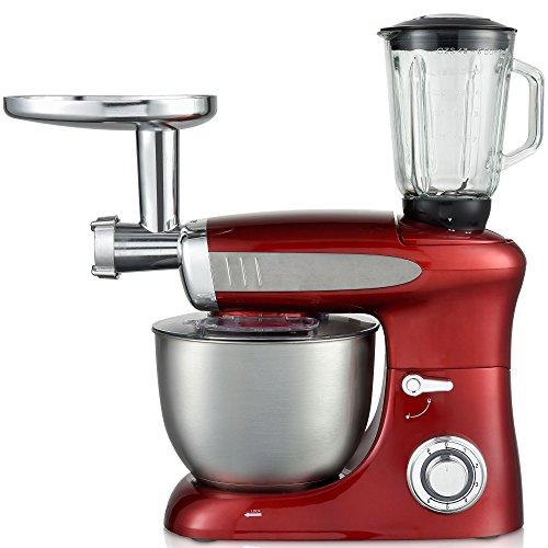 Syntrox Germany KM-1300W Red de Luxe Küchenmaschine Knetmaschine Mixer mit Fleischwolf, Edelstahl-Behälter, 6,5 Liter, rot