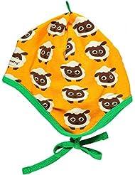 maxomorra Baby Mütze mit Schäfchen Print gelb GOTS Standard