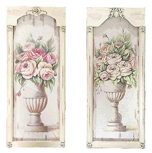 DiKasa Home Set Pannelli Vaso Fiori Shabby, Legno, Multicolore, 61x2x25 cm