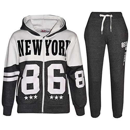 A2Z 4 Kids A2Z 4 Kids® Kinder Trainingsanzug Jungen Mädchen Designer NEW YORK 86 Aufdruck - T.S New York 86 Charcoal 5-6