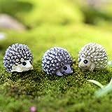 #8: Climberty 3 Pcs Cute Hedgehog Moss Micro Landscape Resin Craft Creative Ornament Fairy Garden Miniature Terrarium Figurine Decoration