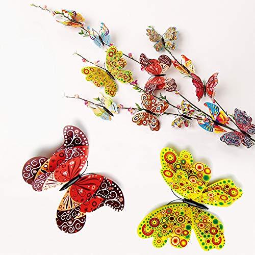 Verkaufseinheit! Artwork Wandsticker, 12 Stück, 3D-Aushöhlung Schmetterling, Heimdekoration, Aufkleber für Kühlschrank, Küche, Badezimmer, Wohnzimmer, Schlafzimmer, abnehmbar, PVC, Gelb (B), Small
