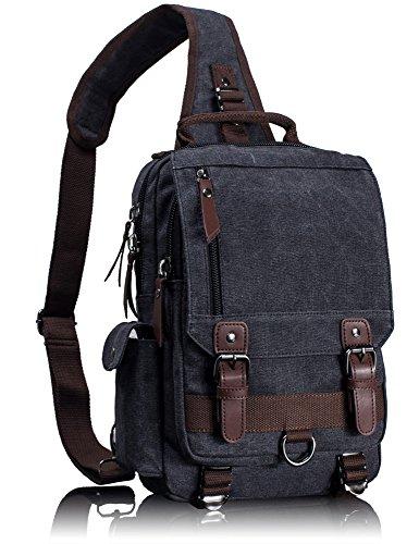 Leaper Vintage Canvas Rucksack Handtasche Schultasche für Outdoor Außflug Sport(XS,Schwarz)