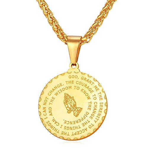 3fe3bc5fd5e7 collar oro 18k bañado en acero inoxidable colgante de medalla para mujer  hombre collar religioso