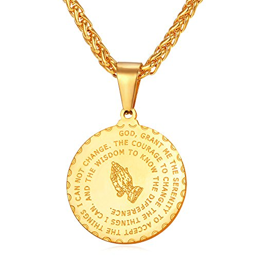 8377de51b816 collar oro 18k bañado en acero inoxidable colgante de medalla para mujer  hombre collar religioso