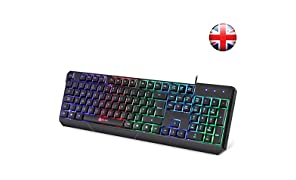 KLIM Chroma Backlit Gaming Keyboard ENGLISH LAYOUT - Wired USB - Led Rainbow Lighting - Ergonomic, Quiet, Water Resistant - Black RGB PC Windows PS4 Mac Keyboards - Silent Keys with Light Color