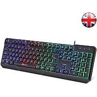 KLIM Chroma Backlit Gaming Keyboard ENGLISH LAYOUT - Wired USB - Led Rainbow Lighting - Ergonomic, Quiet, Water Resistant - Black RGB PC Windows PS4 Mac Keyboards - Silent Keys with Light Color