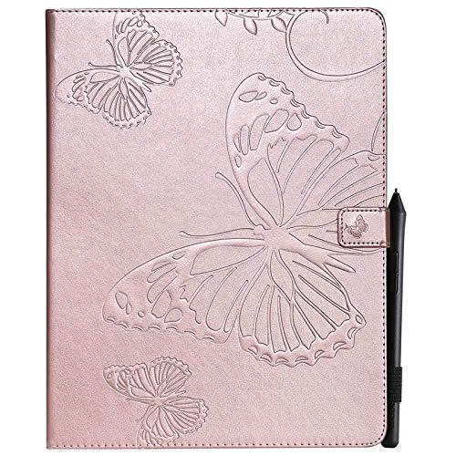 JUFENGYAO Schmetterlings-Blumen-Blumenmuster PU-Leder-Mappen-Standplatz-Kasten-Kasten für neues iPad Pro 12.9 Zoll 2018 Freigabe (3. Gen) Tablethülle (Farbe : Roségold) - Handy-kästen Für 3 Anmerkung