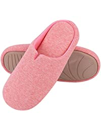 be69c1b8e57 Men s   Ladies  Comfort Cotton Knit Memory Foam Slippers Light Weight Terry  Cloth House Shoes