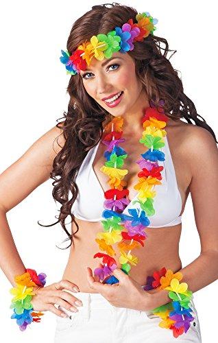 Karibik Kostüm Karneval - Das Kostümland Blumen Hawaii Set Rainbow - Bunte Blumenketten zum Karibik Kostüm Mottoparty Karneval Junggesellenabschied