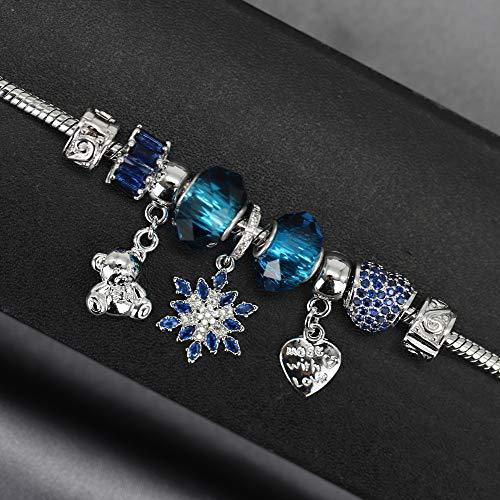 Imagen de ct jewelry pulseras brillantes abalorios united flor hexagonal corazon oro blanco 14k moda charms mujer regalos, azul alternativa