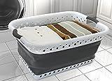 Zusammenklappbarer Vanderbilt-Wäschekorb von POP & LOAD, plastik, Weiß/Grau, S