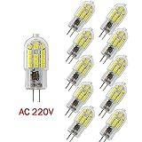 Wulun G4ampoules LED, 3W Blanc Froid 6000K Lampes à LED, 30W Ampoule halogène équivalent, 360° Angle de faisceau, 300LM, 220V-240AC, non compatible avec variateur d'intensité, Lot de 10