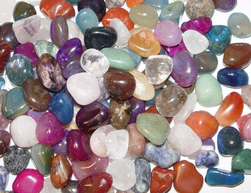 1 kg Bunte Trommelstein Mischung 1 kg ca. 130 - 150 Steine ca. 1 - 3 cm Nr. 2359 mit Bergkristall, Rosenquarz, Amethyst, Moosachat, bunte Achate, Jaspis u.a. von Janni-Shop - Große Shop