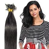 100% Remy Echthaar Extensions Bondings Haarverlängerung Keratin Bonding 100 Strähnen 50cm #1 schwarz