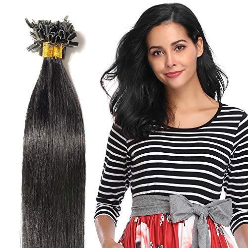 Extensions Keratine Pose a Chaud Extension Cheveux Naturel 100 Mèches/50g #01 Noir foncé - Pre Bonded Nail U Tip Remy Human Hair Extensions - 55cm