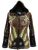 Shopoholic moda da donna sole fiamme hippie Goth giacca cappuccio Green Small