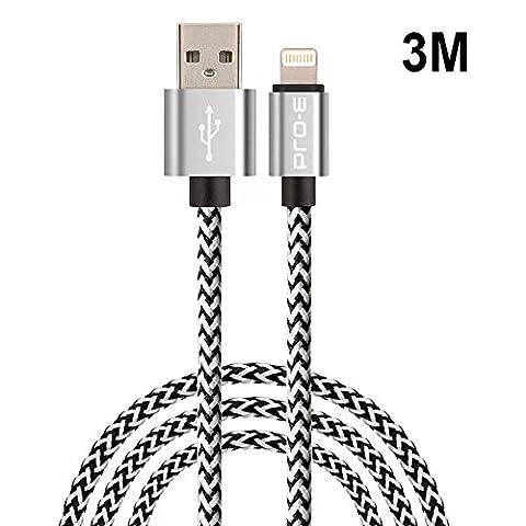 Lightning Kabel 3m Pro-E Nylon iPhone Ladekabel / iPhone kabel /iPhone 5 Ladekabel / iPhone 6 Ladekabel/iPhone Datenkabel für iPhone SE 6S/6S Plus/6 Plus, 5S/5C/5S Plus/5 Plus, iPad Air 2, iPad Mini 3 - (Silber)