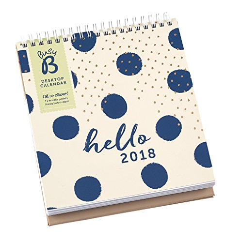 Busy B Calendrier de bureau 2018 avec Pochettes de rangement/Support intégré Affichage Mensuel.