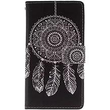 Galaxy Note 3 Housse étui,Meet de Campanula Noir pour Samsung Galaxy Note 3 coque Case Cover smart flip cuir Case à rabatcoque de Protection en Cuir Flip Livre en Cuir Avec des Cartes de Crédit Slot et Fonction Support