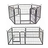 Heavy Duty Puppy Play Pen Dog Pen for Dogs Cat Rabbit Guinea Pig Run Foldable Playpen Indoor/Outdoor Black 6 Panel (S(Height 60cm))