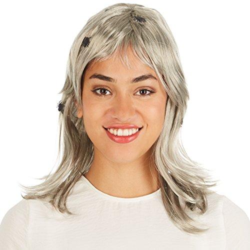 Perücke grau mit Spinnnen im Haar | 50 cm | Vampir Hexe Witch Gothic Halloween (Mit Haar Höhlenmensch Maske)