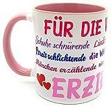 Danke Tasse Erzieherin Kindergärtnerin mit Geschenk - Verpackung Sprüche Abschiedsgeschenk Geburtstags-Geschenk Weihnachten Farbe rosa