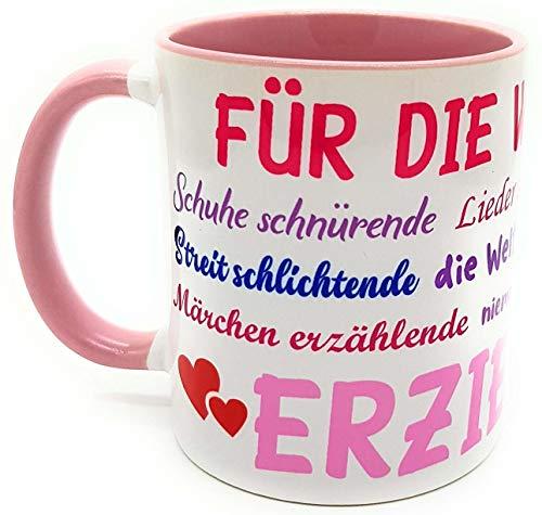Danke Tasse Erzieherin Kindergärtnerin mit Geschenk - Verpackung Sprüche Abschiedsgeschenk Geburtstags-Geschenk Kaffeebecher Farbe rosa