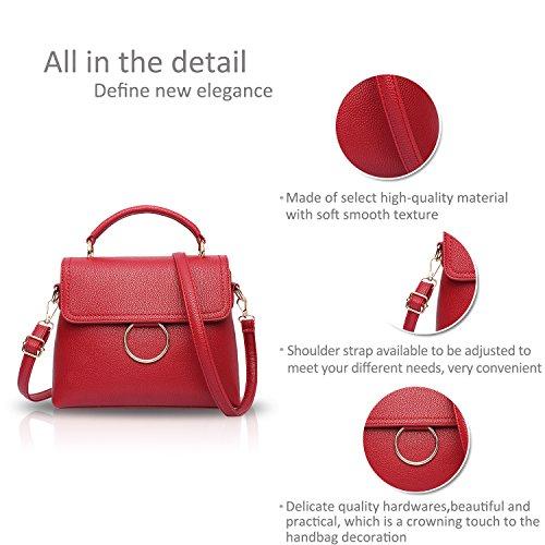 NICOLE&DORIS Donne Moda semplice borsa di Crossbody spalla borsa borsa carina Totes morbido PU Viola Vino Rosso