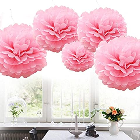 SevenMye 5 Pieces Tissue Paper Pom Lantern Flower Ball DIY Wedding Reception Ceremony Birthday Party Outdoor Decorations(10cm/15cm/20cm,13 Colours Available to