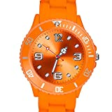 Taffstyle Farbige Sportuhr Armbanduhr Silikon Sport Watch Damen Herren Kinder Analog Quarz Uhr 34mm Orange
