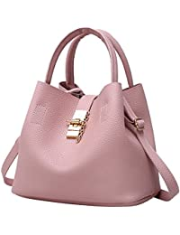 1d55a6562 Logobeing Bolsos de Mujer, 2Pcs Bolsa Bandolera de Cuero PU Shopper Totes  Bolsas Con Bolsos