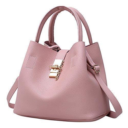 Beikoard 2pcs sacchetti di spalla di cuoio di modo delle donne insaccano la borsa della madre con la borsa(rosa)