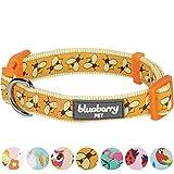Blueberry Pet Statement Fleißige Bienchen Designer Hundehalsband, Hals 30cm-40cm, S, Verstellbare Halsbänder für Hunde