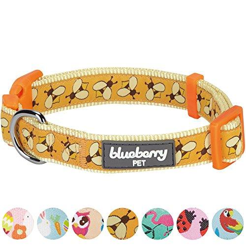 Blueberry Pet Statement Fleißige Bienchen Designer Hundehalsband, Hals 45cm-66cm, L, Verstellbare Halsbänder für Hunde -