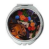 Yanteng Machte glückliche Halloween Bunte Blau Rote Blume Brieftasche Spiegel, Schminkspiegel, Taschenspiegel (tragbarer Spiegel)